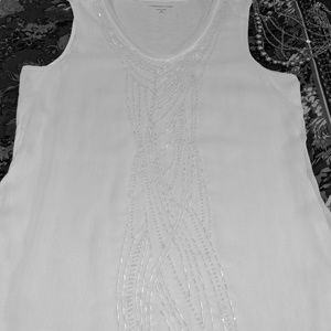 Talbot's Ivory Beaded Top